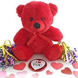 """I Love You"" Plush Teddy Bear and Detachable Button/Pin (2pc Set)"