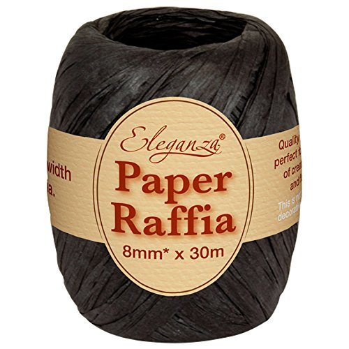Eleganza 8 mm x 30 m Paper Raffia for Variety of Craft Projects and Gift Wrapping, No.20 Black Oaktree UK 630147