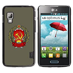Caucho caso de Shell duro de la cubierta de accesorios de protección BY RAYDREAMMM - LG Optimus L5 II Dual E455 E460 - Soviet Russia Ussr Symbol Poster Sign Art