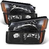 2003 avalanche headlight assembly - Avalanche *Body Cladding Model* Black Bezel Headlights Front Lamps + Bumper Signal Lights Lamps Set