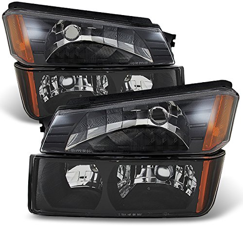 For Avalanche Body Cladding Model Black Bezel Headlights Front Lamps + Bumper Signal Lights Lamps Set ()