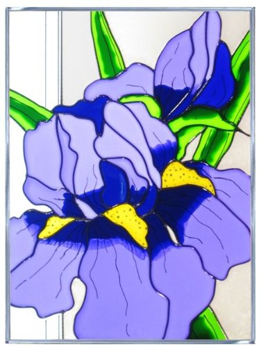 Lavender Iris Vertical Art Glass Panel - stained glass home wall art decor