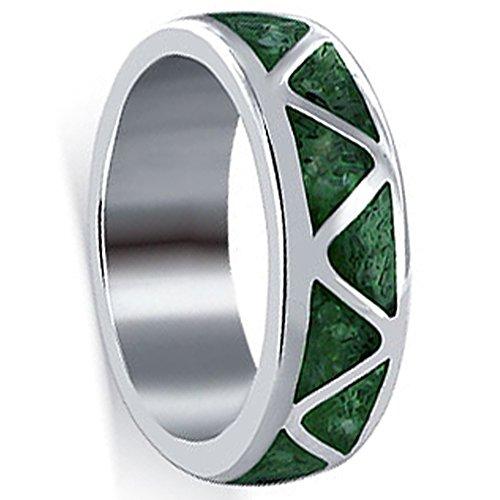 Gem Avenue 925 Sterling Silver Southwestern Style Malachite Gemstone Inlay Band Ring Size 6