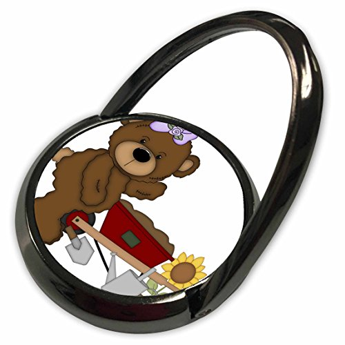 Gardening Bear - 3dRose Anne Marie Baugh - Illustrations - Cute Brown Girl Teddy Bear Gardening Illustration - Phone Ring (phr_222507_1)