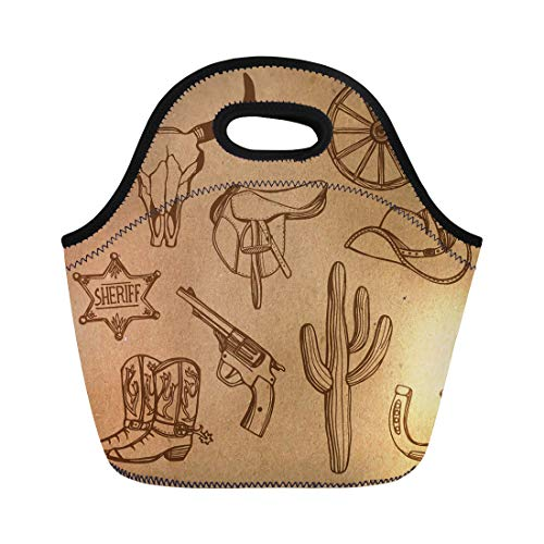 Semtomn Neoprene Lunch Tote Bag Wild West Western Cowboy Hat Boots Gun Sheriff Star Reusable Cooler Bags Insulated Thermal Picnic Handbag for Travel,School,Outdoors,Work