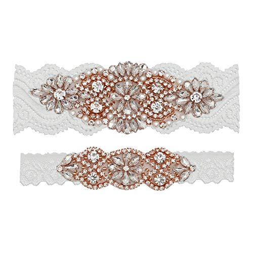 (Yanstar Wedding Bridal Garter Off-White Stretch Lace Bridal Garter Sets with Rose Gold Rhinestones Clear Crystal Pearl for Wedding)