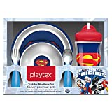 Playtex DC Superfriends Batman and Superman Kids Mealtime Set, Pack of Plate, Bowl, Utensils and Insulated Cup, Blue/White