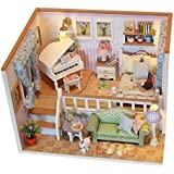 Wooden Doll House Miniature DIY House Creative Room Kit Great Gift for Boys and Girls-Because Of Met You