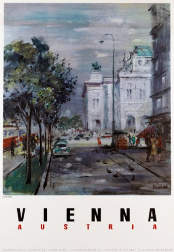 TA22 Vintage Vienna Austrian Austria Travel Poster, used for sale  Delivered anywhere in USA