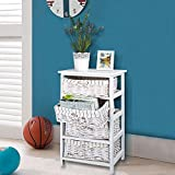 TopHomer Bedside Units, Bedside Table, End Table, Nightstand, Coffee Table, Shabby Chic Wooden with Drawer Canvas/ Wicker Storage Vintage Retro Countryside Design (White, 3 Drawer)