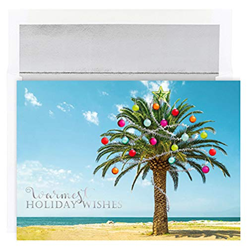 Masterpiece Warmest Wishes 18-Count Christmas Cards, Decorated Palm Tree
