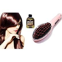 Heat Straightening Hair Brush with Argan oil (Pink)