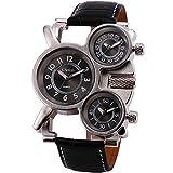 OULM Men's Pilot Alien Design Casual Outdoor Military Vogue Quartz Wristwatch Quality Leather Strap 3 Time Zones Display + Box