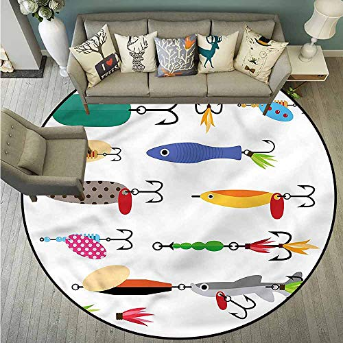 Living Room Round Mat,Fishing,Stinger Net and Worms,Anti-Slip Doormat Footpad Machine Washable,4'3