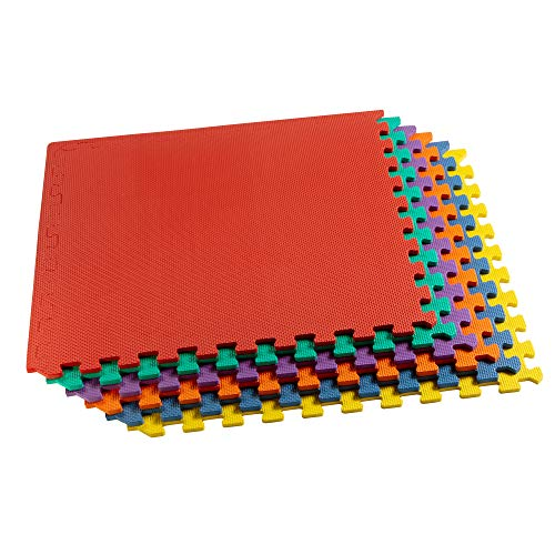 We Sell Mats Multipurpose Exercise Floor Mat with EVA Foam, Interlocking Tiles, Anti-Fatigue, for Home or Gym, 104 Square Feet (26 Tiles), 24 x 24 x 3/8 Inches, Multi-Color (Wall Where Buy Large To Mirrors)