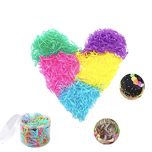 2500 Pieces Multi Color Hair Holder Hair Tie Elastic Rubber Bands Small Candy Color Hair Bands with free box for Baby Girls Kids Women Braids Wedding Hairstyle