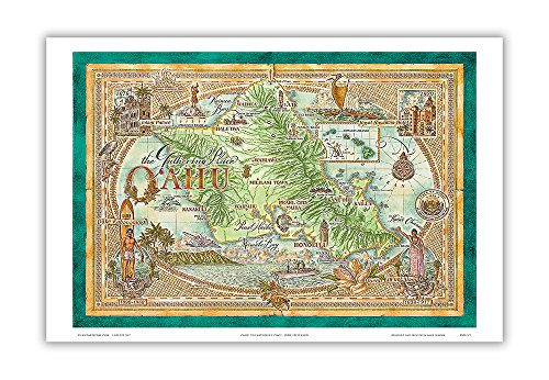 Pacifica Island Art Map of Oahu, The Gathering Place - Vintage Hawaiian Colored Cartographic Map by Dave Stevenson - Hawaiian Master Art Print - 12 x 18in