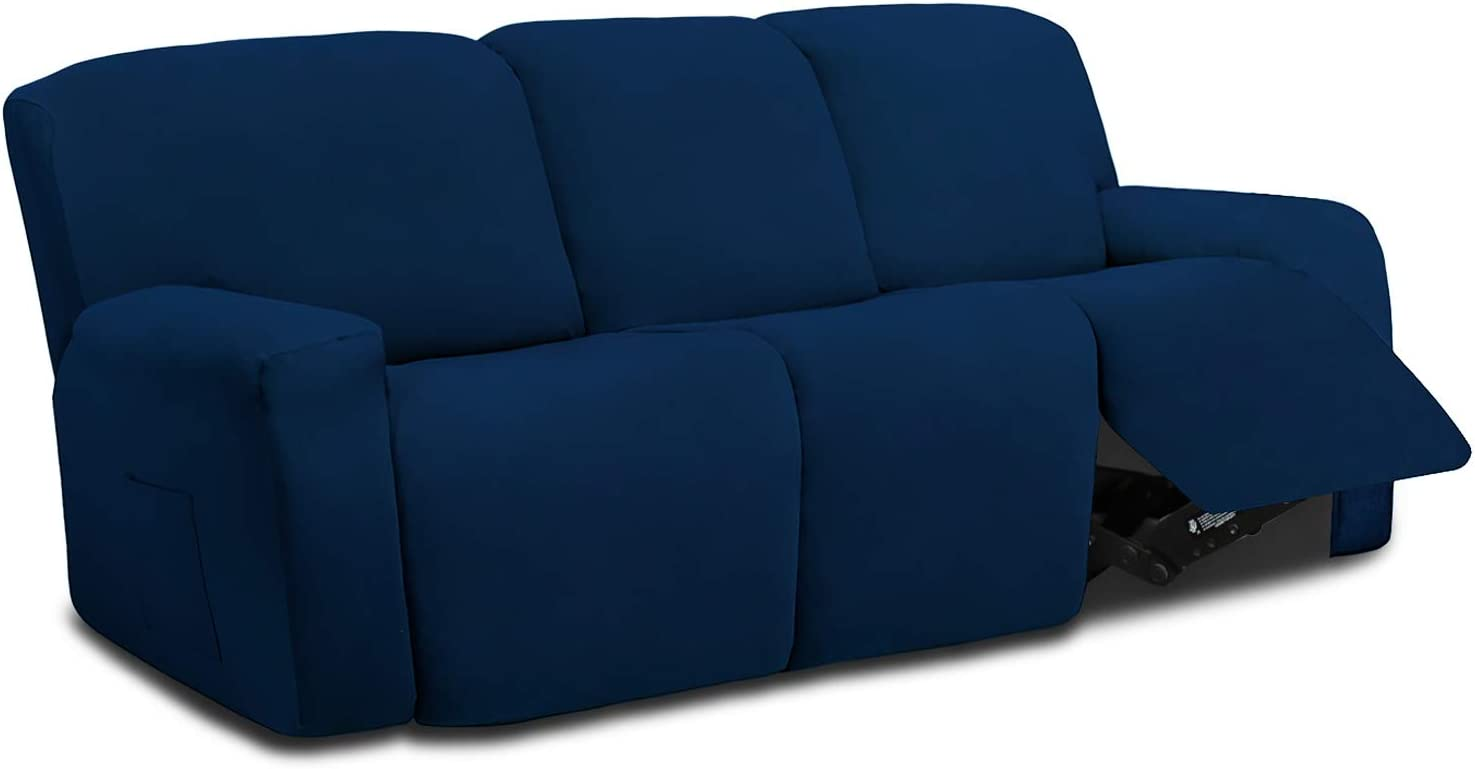 Easy-Going 8 Pieces Microfiber Stretch Sectional Recliner Sofa Slipcover Soft Fitted Fleece 3 Seats Couch Cover Washable Furniture Protector with Elasticity for Kids Pet(Recliner Sofa,Navy)