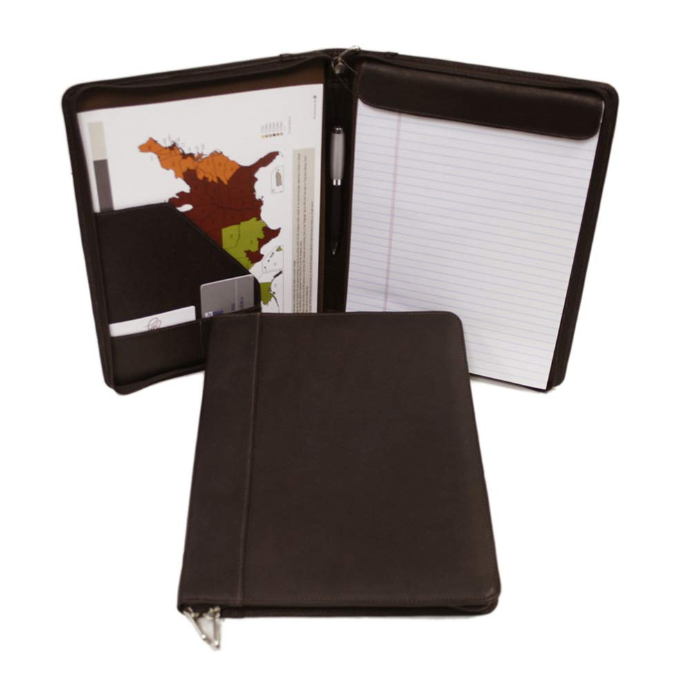 Piel Leather Zippered Padfolio, Chocolate, One Size