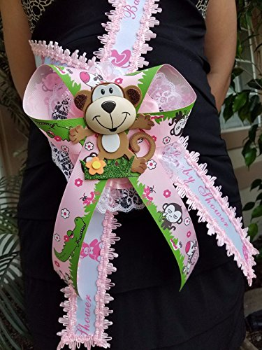 Pink Baby Shower Mom To Be It's a Girl Sash Monkey Safari Ribbon Corsage Noah's