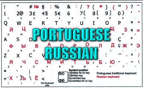 LAPTOP AND NOTEBOOK PORTUGUESE-RUSSIAN NON-TRANSPARENT KEYBOARD STICKERS ON WHITE BACKGROUND FOR DESKTOP