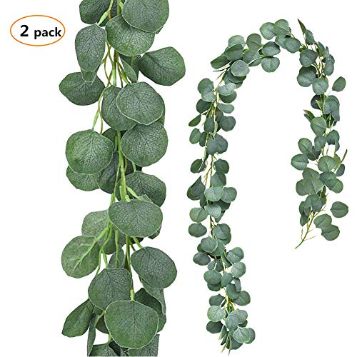 TOPHOUSE 2 Pack 6.5 Feet Artificial Silver Dollar Eucalyptus Leaves Garland 164 Pcs Leaves Garland Greenery Wedding Backdrop Arch Wall Decor in Grey Green (Gray Eucalyptus Leaves Garland,2)]()