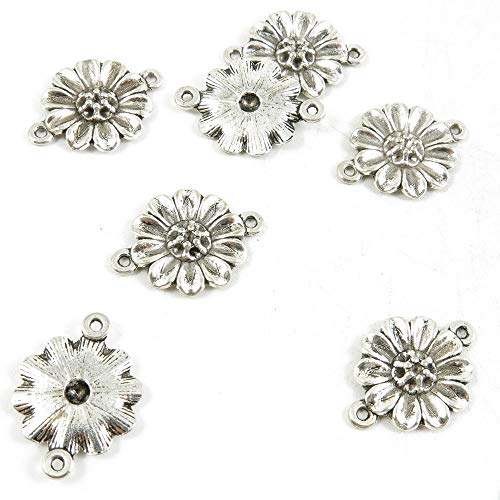 (550 pcs Antique Silver Plated Jewelry Charms Findings Craft Making Vintage Beading S8JQ1D Sunflower Connector)