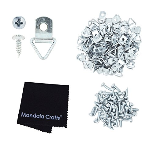 Mandala Crafts Triangle Heavy Duty Strap Hangers D-ring Hooks with Screws for Mirror Sign Frame Art Picture Hanging (100 Pieces, - Gallery Wire Silver