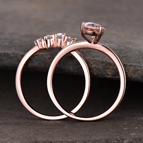 Pear Shape Pink Morganite Wedding Ring Set 925 Sterling Silver Rose Gold CZ Diamond Curved Stacking Ring by Milejewel Morganite Engagement Ring (Image #3)