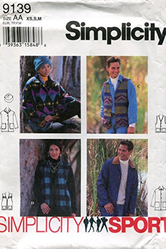 (Simplicity Sport Pattern 9139 Misses', Men's, Teen Boys' and Teen Girls' Jacket, Vest and Hat, Size AA (XS-S-M))
