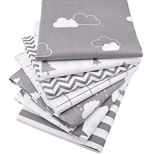 15.7x19.7 Inch Gray Twin Cotton Sheet Set- Printed Twill Cotton Fabric- Pack of 7 Patchwork Clothes for Women- DIY Sewing Quilting Fat Quarters Material For Baby- Twill Cotton Fabric - Cotton Fabric f