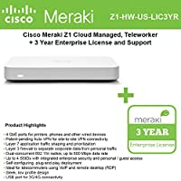Meraki Z1 Cloud Managed Teleworker Gateway, (5) GbE Ports, Dual Radio 802.11n, Wireless with 3 Year Z1 Enterprise License