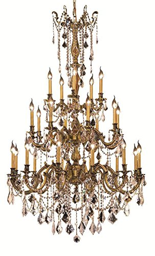 Elegant Lighting 9225G38FG/RC Royal Cut Clear Crystal Rosalia 25-Light, Three-Tier Crystal Chandelier, Finished in French Gold with Clear Crystals (Rosalia 25 Light Chandelier)