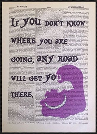 Alice In Wonderland Quotes | Amazon Com Cheshire Cat Crazy Quote Print Dictionary Picture Wall