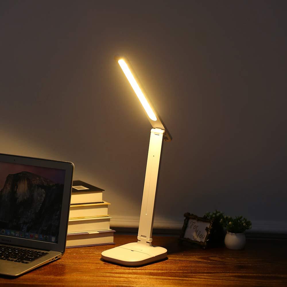 24 Piezas LED Ritioner L/ámpara de Mesa LED,L/ámparas de Escritorio Ajustables con 3 Modos de iluminaci/ón y Ajuste de Brillo,Control t/áctil Que cuida los Ojos y USB Recargable Plegable