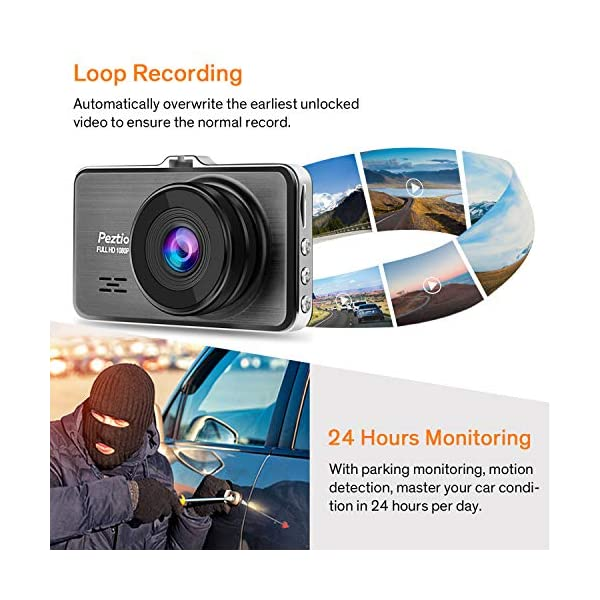 G-sensor Dual Dash Cam with Night Vision 170/° Wide Angle Dash Cams For Cars Front and Rear Full HD 1080P Car Camera Parking Monitor Motion Detection 3 Inch IPS Screen Loop Recording