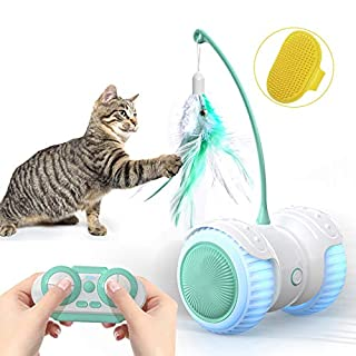 Cat Toys for Indoor Cats, 14 in 1 Smart Robotic Interactive Cat Toy, Auto/RC 2 Mode, Kitten Approved Toy With Active Program, Feathers, Corful Light, Catnip, Bells - Hours Fun for Kitty and Human