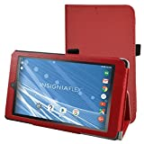 "Insignia NS-P08A7100 Case,Mama Mouth PU Leather Folio 2-folding Stand Cover with Stylus Holder for 8"" Insignia Flex NS-P08A7100 Andriod 6.0 Tablet 2016,Red"