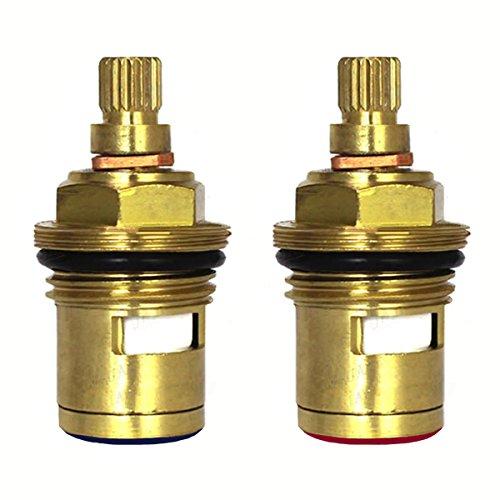 - Huashan Pair of Replacement Brass Ceramic Disc Stem Cartridge Faucet Valve Quarter Turn 1/2