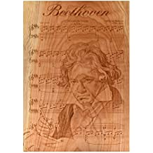 Beatus Lignum Beethoven Engraved on Cherry Wood 15.5 x 11 inches