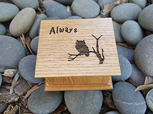 Custom engraved wooden music box with an owl and Always engraved on top. Perfect gift for graduation, birthdays or a Happy Potter fan.