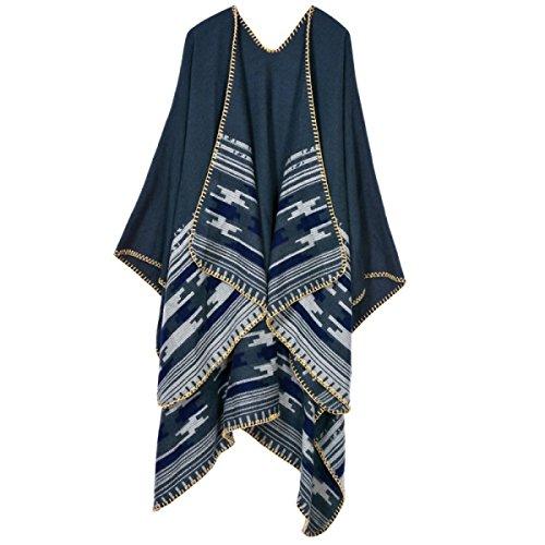 Bufanda Mujer Invierno Gruesa Grueso Collar Caliente Del Collar De La Bufanda Del Mantón Blue