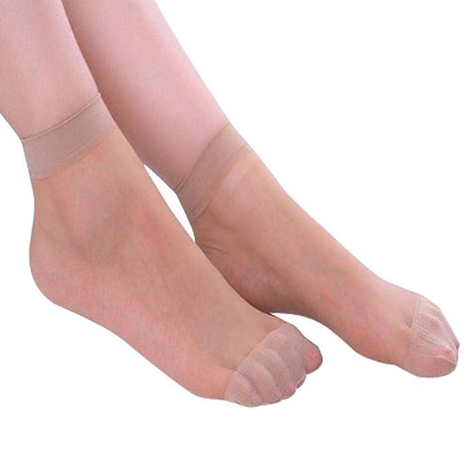 VJGOAL Mujer Otoño e Invierno Moda casual Color sólido 10 Pares Cable de cristal elástico ultra delgado Seda Chica Calcetines cortos Calcetines ...