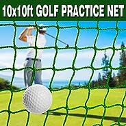 Ediors 10 x 10 ft Golf Sports Practice Net, Golf Ball Baseball Softball Hitting Netting, Golf Backstop Net, Hi