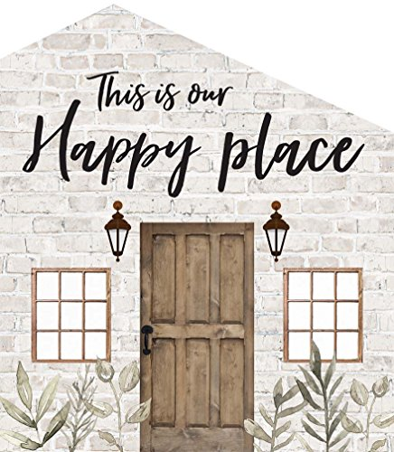 P. Graham Dunn Our Happy Place Whitewash Brick Look House Shaped 5.5 x 6 Inch Pine Wood Block Tabletop -
