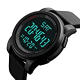 Mens Digital Watch LED Display Large Face Military 5ATM Waterproof Sports Stopwatch Backlight Wristwatch