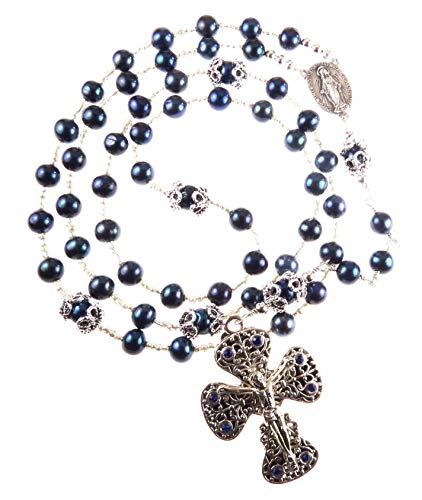 Handmade Catholic Rosary Blue Cultured Freshwater Pearls and Silver Tone Ornate Crucifix with Blue Rhinestones ()