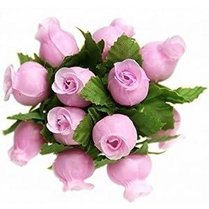 144 Poly Rose Silk Favor Flower Pick Wedding Shower - Light Pink 13