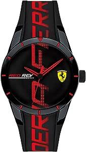 Ferrari Men's Stainless Steel Quartz Watch with Silicone Strap, Black, 18 (Model: 0840026)