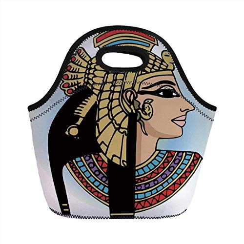 Portable Neoprene Lunch Bag, Egyptian, Profile Portrait of Queen Cleopatra Ancient Cultures Civilization Antique Artwork Decorative, Multicolor, for Kids Adult Thermal Insulated Tote Bags